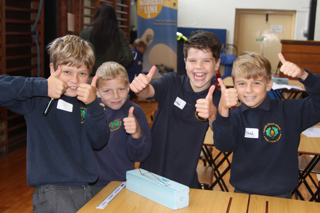 Downside Catholic School - Pupils with Thumbs up at Science Scope