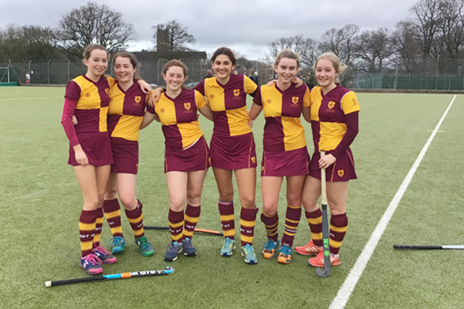Pupils from Downside School Play Hockey