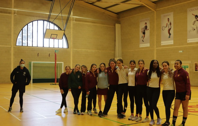 Jessica Shaw coaches netball at Downside School