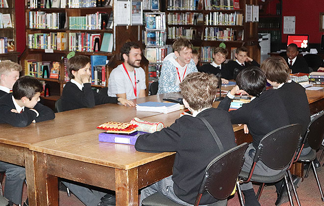 Downside Catholic School Pupils in Poetry Class
