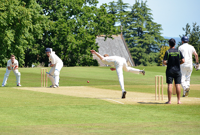 Downside Catholic School Team Playing Cricket