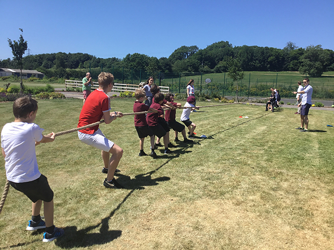 Downside Catholic School Pupils Playing Tug of War