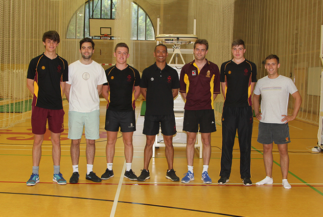 Downside School Coach and Students in Front of New Indoor Net