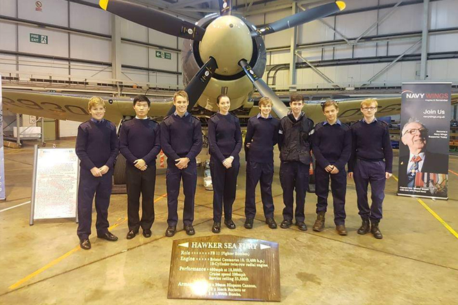 Downside Catholic School Pupils in front of Aircraft