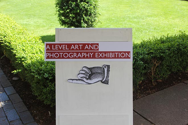 Downside Catholic School Prize Day, Art and Photography Exhibition Sign
