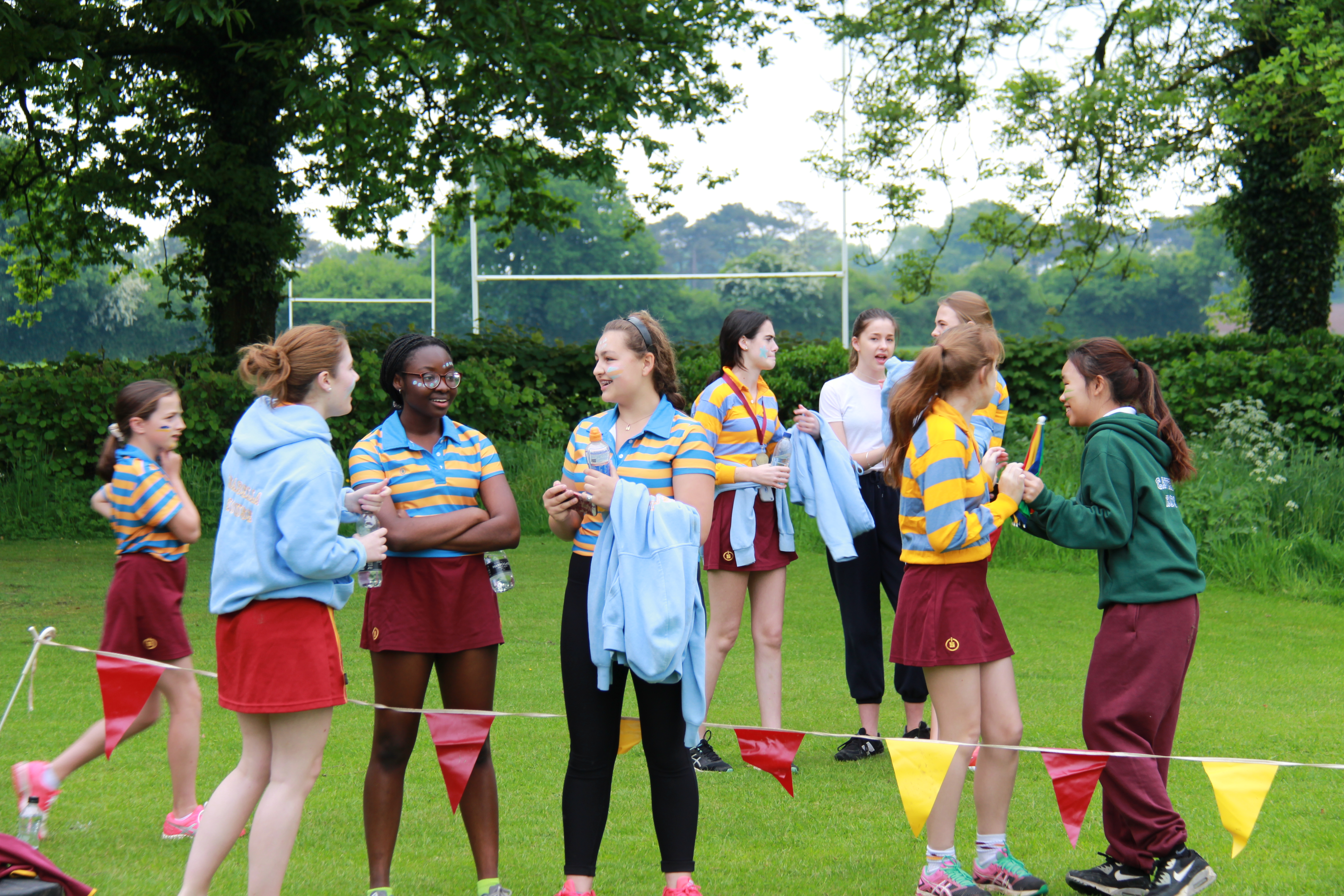 Girls talking at sports day 2018