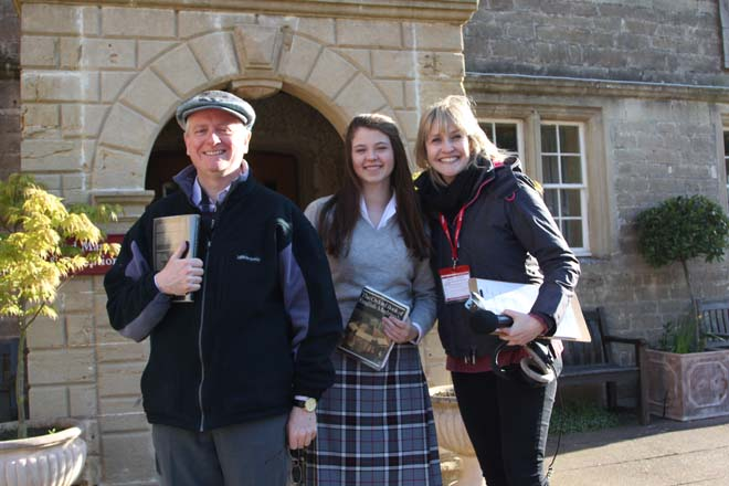 Presenter of BBC Radio Somerset with student and adult at Downside