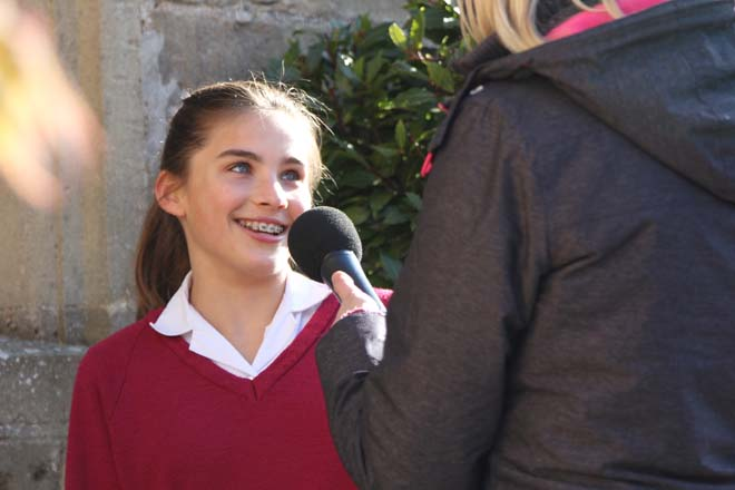 Student being interviewed by BBC Radio Somerset