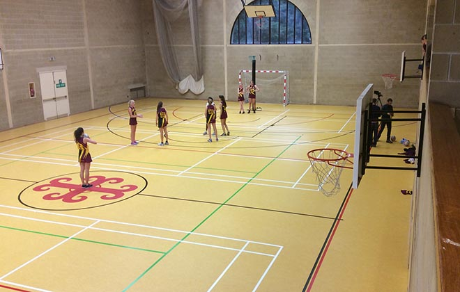 The new Downside Sports Hall floor (2015)