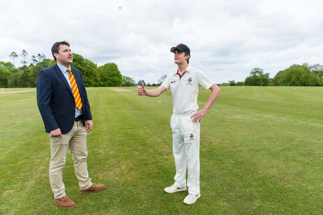 Cricketers tossing coin