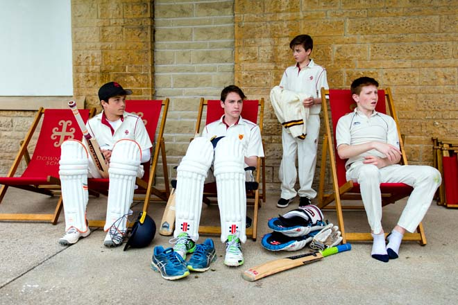 Cricketers on deck chairs