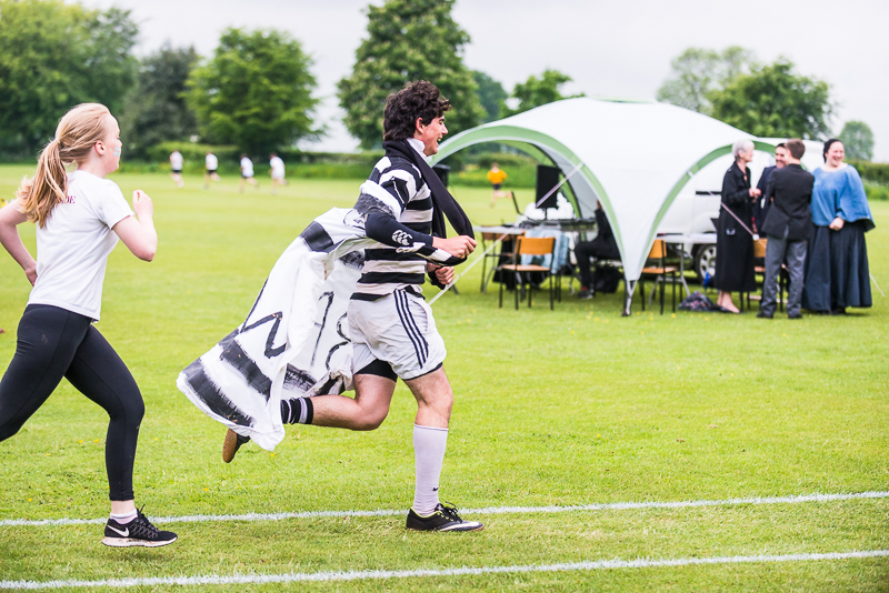 Running with cape at sports day 2018