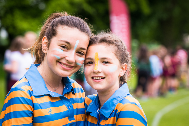 Girls smiling at sports day 2018