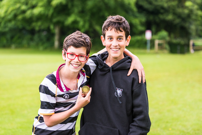 Boys with medal at sports day 2018