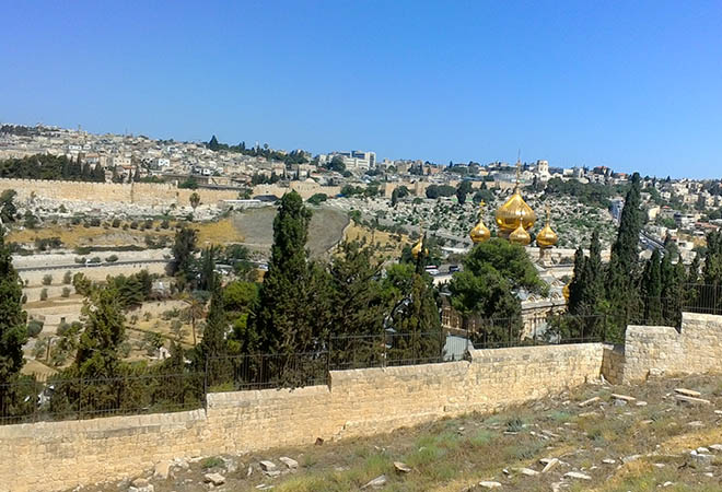 Panoramic View - Old City of Jerusalem and St Mary Magdalene Church