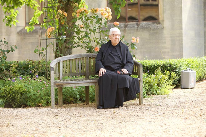 Father Christopher in the garden at Downside Abbey