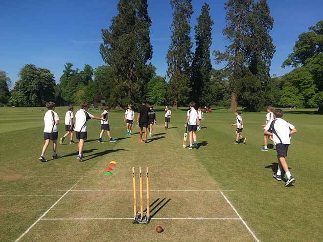Cricketers playing outside