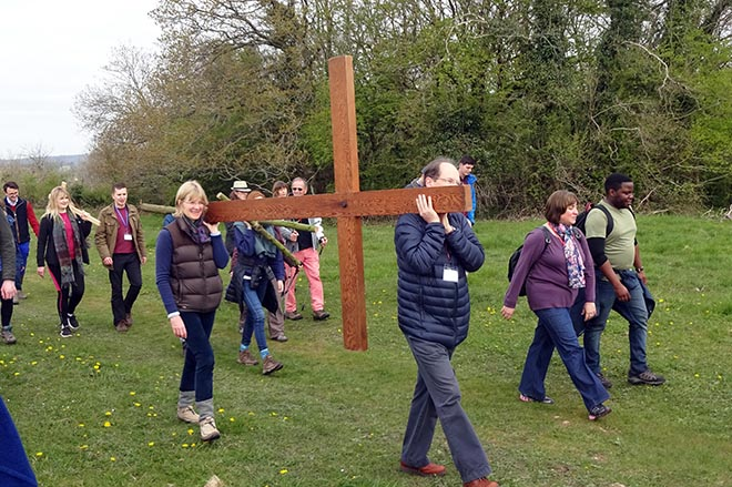 Easter at Downside Abbey - Pupils Carrying Wooden Cross