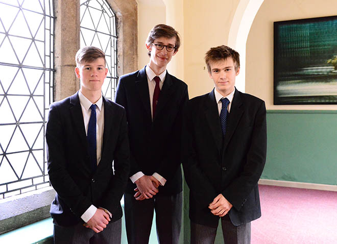Matthew Walters, Tristan van Laar and Olii Neilson hope to take up Oxbridge places later in 2018