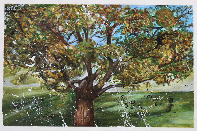 Downside Pupils Art Exhibition - Drawing of Tree