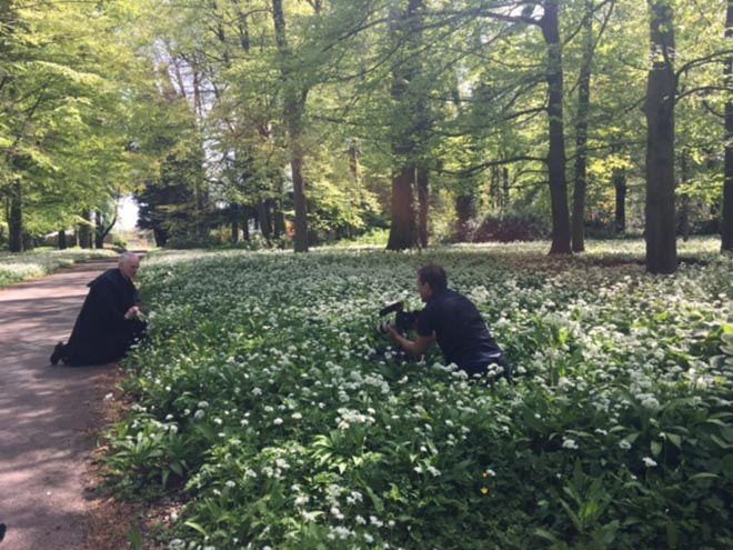 Fr Leo prepares the wild garlic for a close up shot!