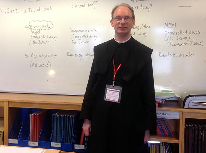 Monks visit All Hallows School