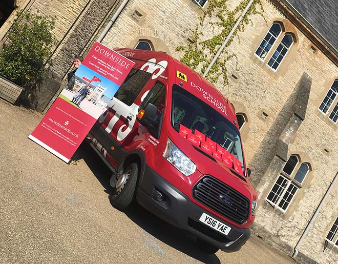 Downside school van and roller banner