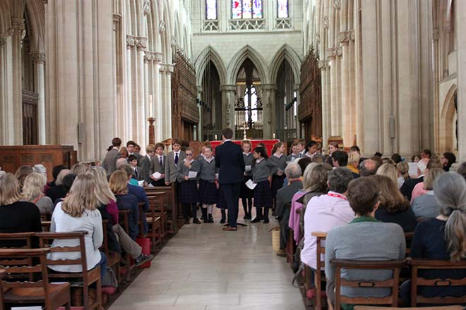 Choral singers in the abbey