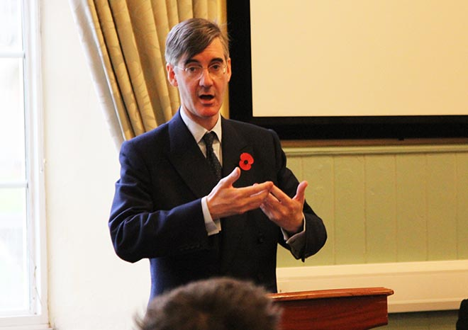 Jacob Rees-Mogg, Conservative MP for North East Somerset visits Downside School